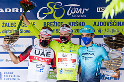 Diego ULISSI of UAE TEAM EMIRATES, Tadej POGACAR of UAE TEAM EMIRATES and Matteo SOBRERO of ASTANA - PREMIER TECH at trophy ceremony the 5th Stage of 27th Tour of Slovenia 2021 cycling race between Ljubljana and Novo mesto (175,3 km), on June 13, 2021 in Slovenia. Photo by Matic Klansek Velej / Sportida