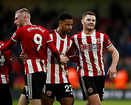 Oli McBurnie, Lys Mousset and Jack O'Connell of Sheffield Utd celebrate the win during the Premier League match at Bramall Lane, Sheffield. Picture date: 9th February 2020. Picture credit should read: Simon Bellis/Sportimage