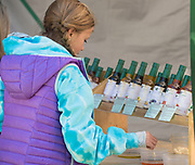 Young girl enjoys tasting flavored oils at the Thousand Springs Art Festival at Ritter Island near Hagerman, Idaho. MR