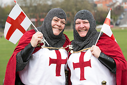 © Licensed to London News Pictures. 23/04/2015. Nottingham, UK. The Nottingham St George's parade took part today. The parade met in Forest Recreation Ground. An estimated two hundred people with trucks playing patriotic music and horses dressed in flags made their way along the streets into the City Centre. Photo credit : Dave Warren/LNP