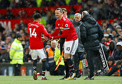 Manchester United's Zlatan Ibrahimovic is substituted on for Manchester United's Jesse Lingard during the Premier League match at Old Trafford, Manchester.