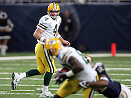 Green Bay Packers' Brett Favre watches his 7-yard slant pass to Donald Driver to break the All-Time Leader in Career Passing Yards in the 3rd quarter. .The Green Bay Packers traveled to the Edward Jones Dome to play the St. Louis Rams Sunday December 16, 2007. Steve Apps-State Journal.