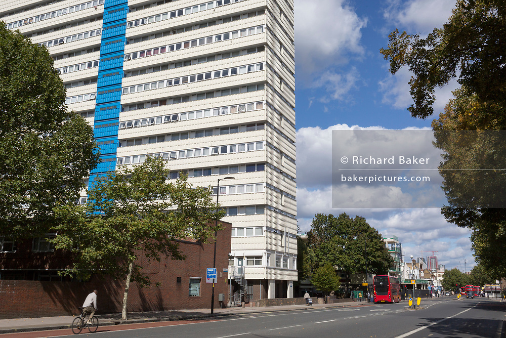 An exterior street view of Castlemead, a high-rise block of flats on the Camberwell Road, on 7th September 2018, in south London, Southwark, UK