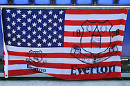 A USA flag for Everton Goalkeeper Tim Howard's last game for the club. Barclays Premier League match, Everton v Norwich City at Goodison Park in Liverpool on Sunday 15th May 2016.<br /> pic by Chris Stading, Andrew Orchard sports photography.