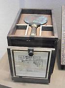Mirror of the Cupbearer Kemeni. Egypt; Middle Kingdom, 12–13th Dynasty. ca. 1810–1700 B.C. Upper Egypt; Thebes, el-Asasif, Tomb of Reniseneb (CC 25), Inside box of Kemeni, Bronze or copper alloy, gold, ebony