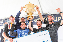 Taylor Canfield and his Stars+Stripes Team USA crew with the King Edward VII Gold Cup.  Bermuda Gold Cup and Open Match Racing World Championship. Royal Bermuda Yacht Club, Hamilton, Bermuda. Day Five. 30th October 2020.