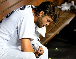 September 7, 2017 - Los Angeles, California, U.S. - Los Angeles Dodgers starting pitcher Clayton Kershaw sits on the bench in between the second and third innings during a Major League baseball game against the Colorado Rockies at Dodger Stadium on Thursday, Sept. 07, 2017 in Los Angeles. (Photo by Keith Birmingham, Pasadena Star-News/SCNG) (Credit Image: © San Gabriel Valley Tribune via ZUMA Wire)