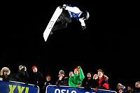 Snowboard , X-Games Oslo <br /> 26. Februar 2016  , 20160226<br /> Snowboard, Half Pipe, Wyller, X-Games <br /> Pat Burgener i lufta underveis i mennenes finale <br /> Foto: Sjur Stølen / Digitalsport