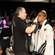 FORT LAUDERDALE, FL - FEBRUARY 15: Outman Stitch Duran readies Reggie Barnett during the Bare Knuckle Fighting Championships at Greater Fort Lauderdale Convention Center on February 15, 2020 in Fort Lauderdale, Florida. (Photo by Alex Menendez/Getty Images) *** Local Caption *** Reggie Barnett; Stitch Duran