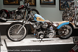 """Bill Dodge built Blings Motard in 2000 with one of the first of two 93 ci S&S generator Shovelhead engines (the other going to Johnny Chop) that were produced. It was also the first of many 23"""" front wheel bikes Bill went on to make. On display here in the Heavy Mettle - Motorcycles and Art with Moxie exhibition at the Sturgis Buffalo Chip. This is the 2020 iteration of the annual Motorcycles as Art series curated and produced by Michael Lichter. Sturgis, SD, USA. Friday, August 7, 2020. Photography ©2020 Michael Lichter."""