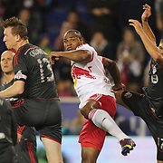 Jamison Olave, (centre), New York Red Bulls, in action during the New York Red Bulls Vs Toronto FC, Major League Soccer regular season match at Red Bull Arena, Harrison, New Jersey. USA. 11th October 2014. Photo Tim Clayton