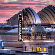 Mainstreet Theater in the foreground from an elevated view with the Kauffman Center for the Performing Arts in the background, downtown Kansas City, MO.