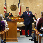 Hidalgo County Assistant District Attorney Michael Garza gestures to people watching Feit's trial while talking to the jury. For years the cold-case death of Irene Garza remained legend in Hidalgo County, before renewed interest in the case in the early 2000s and new District Attorney Ricardo Rodriguez brought the case to trial after 57 years. Nathan Lambrecht/The Monitor