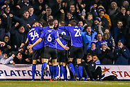 Goal 0-1 Sheffield Wednesday forward Atdhe Nuhiu (17) scores a goal and celebrates during the The FA Cup 3rd round replay match between Luton Town and Sheffield Wednesday at Kenilworth Road, Luton, England on 15 January 2019.