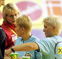 03.12.2008 Ohrid (FYR Macedonia)<br />Norway-Spain European women's handball championship<br /> Marit Breivik(L) Norway head coach after match with Serbian referees Maric Branka(c) and Masic Zorica(r)  <br />Foto:Aleksandar Djorovic