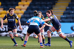 Elizabeth Shermer of Worcester Warriors Women hands off Alana Bainbridge of DMP Durham Sharks - Mandatory by-line: Nick Browning/JMP - 09/01/2021 - RUGBY - Sixways Stadium - Worcester, England - Worcester Warriors Women v DMP Durham Sharks - Allianz Premier 15s