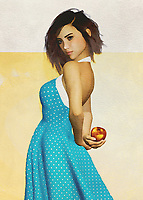 This charming fine art creation depicts a young woman with an apple. She is hiding the apple behind her back, leading us to wonder what she is up to. We look at her eyes. We study the way her brilliant blue dress seems to be in the middle of some sort of motion. She is a stunning young woman who is in complete control of her destiny. She is in good spirits. There is no question that whoever is with her is probably in good spirits, as well. This is a scene that can take you back to the prime moments of your youth.<br /> <br /> BUY THIS PRINT AT<br /> <br /> FINE ART AMERICA<br /> ENGLISH<br /> https://janke.pixels.com/featured/girl-holding-an-apple-jan-keteleer.html<br /> <br /> WADM / OH MY PRINTS<br /> DUTCH / FRENCH / GERMAN<br /> https://www.werkaandemuur.nl/nl/shopwerk/Vrouw-van-de-wereld---Frans-meisje-met-een-appel/446506/134