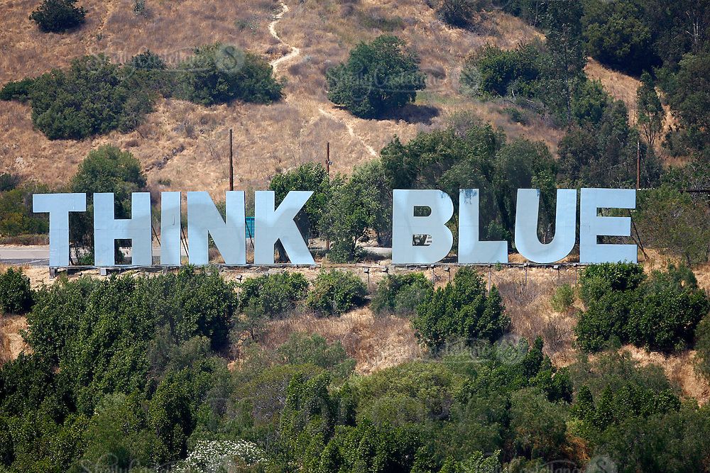 9 May 2009: Famous Think Blue sign in Elysian Park hills outside the stadium during  the MLB Los Angeles Dodgers 8-0 shut out over the San Francisco Giants in game 32 of the National League regular season. Weather was sunny and 73', they played infront of 41,425 fans on Saturday.
