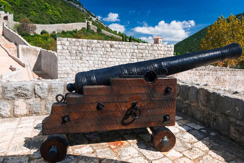 Cannon on the Great Wall, Ston, Dalmatian Coast, Croatia