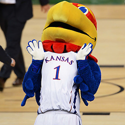 Mar 31, 2012; New Orleans, LA, USA; The Kansas Jayhawks mascot celebrates after defeating the Ohio State Buckeyes 64-62 in the semifinals of the 2012 NCAA men's basketball Final Four at the Mercedes-Benz Superdome. Mandatory Credit: Derick E. Hingle-US PRESSWIRE