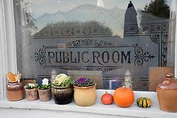 Hallowe'en pumpkins outside a pub in Suffolk, UK