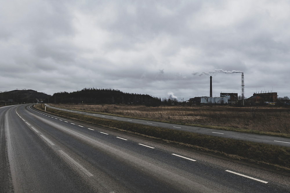 """Kiviõli, Estonia - February 22, 2020: The industrial town of Kivioli is known for its shale oil mining and production. The  town's name literally means """"stone oil""""."""