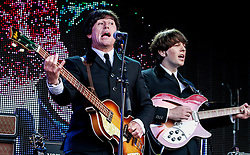 Pictured: The Bootleg Beatles turn back the clock to wow the crowds with a selection of classic hits from the 60's legends  in front of a sell out 9000 crowd at Party at the Palace in Linlithgow close to historic Linlithgow Palace . Andrew West/ EEm