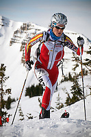 BRADLY J. BONER / NEWS&GUIDE .____ nears the top of Rendezvous Mountain for the final descent of the U.S. Ski Mountaineering Championships on Saturday at Jackson Hole Mountain Resort.
