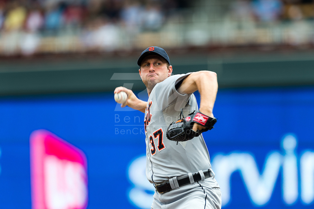 Max Scherzer (37) of the Detroit Tigers pitches during a game against the Minnesota Twins on August 15, 2012 at Target Field in Minneapolis, Minnesota.  The Tigers defeated the Twins 5 to 1.  Photo: Ben Krause