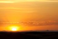 Sunset in the desert at Erg Chebbi, Merzouga, Morocco.
