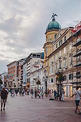 THEMENBILD - die Fußgängerzone mit dem Stadtturm. Auf der Kuppel sind die Köpfe des zweiköpfigen Adlers von Rijeka zu sehen, aufgenommen am 12. August 2019 in Rijeka, Kroatien // the pedestrian zone with the town tower on the dome the heads of the two-headed eagle of Rijeka can be seen, in Rijeka, Croatia on 2019/08/12. EXPA Pictures © 2019, PhotoCredit: EXPA/Stefanie Oberhauser
