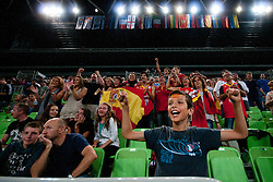 Supporters after basketball match between National teams of Serbia and Spain in Placement match for 3rd place of U20 Men European Championship Slovenia 2012, on July 22, 2012 in SRC Stozice, Ljubljana, Slovenia. (Photo by Urban Urbanc / Sportida.com)
