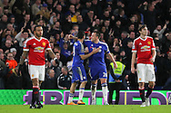 Chelsea's John Terry congratulates Chelsea's Diego Costa after his equaliser 1-1 during the Barclays Premier League match between Chelsea and Manchester United at Stamford Bridge, London, England on 7 February 2016. Photo by Phil Duncan.