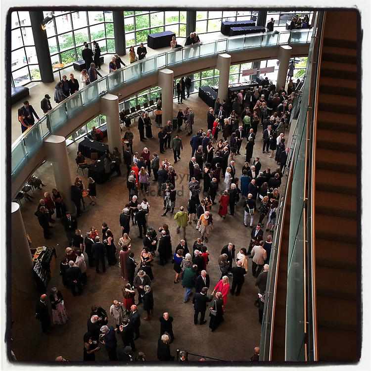2018 September 15 - Crowds in the lobby of Benaroya Hall in downtown Seattle, WA, USA. This is on Opening Night of Seattle Symphony subscriber season. Taken/edited with Instagram App for iPhone. By Richard Walker