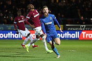 AFC Wimbledon midfielder Scott Wagstaff (7) celebrating after scoring goal to make it 2-0 during the The FA Cup match between AFC Wimbledon and West Ham United at the Cherry Red Records Stadium, Kingston, England on 26 January 2019.