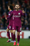 Bernardo Silva of Manchester city reacts and shows frustration towards the assistant referee after he has a goal disallowed. The Emirates FA Cup, 4th round match, Cardiff city v Manchester City at the Cardiff City Stadium in Cardiff, South Wales on Sunday  28th January 2018.<br /> pic by Andrew Orchard, Andrew Orchard sports photography.