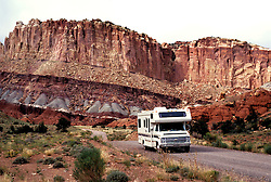Utah: RV Camping, Capitol Reef, travel, vacation, scenic horizontal landscape. .Photo copyright Lee Foster, www.fostertravel.com..Photo #: rvutah104, 510/549-2202, lee@fostertravel.com