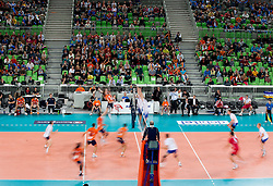 Players during volleyball match between ACH Volley and Generali Unterhaching (GER) in 1st Leg of Pool D of 2013 CEV Champions League on October 24, 2012 in Arena Stozice, Ljubljana, Slovenia. Unterhaching defeated ACH 3-2. (Photo By Vid Ponikvar / Sportida)
