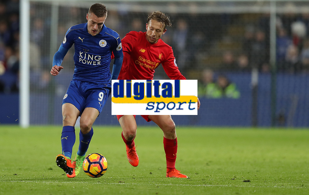 Football - 2016 / 2017 Premier League - Leicester City vs. Liverpool<br /> <br />  Lucas Leiva of Liverpool and Jamie Vardy of Leicester City during the match at The King Power Stadium.<br /> <br /> COLORSPORT/LYNNE CAMERON