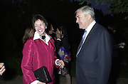 Lord  Conrad and Lady Barbara Black. Cartier party after the preview of the Chelsea Flower show. physic Garden. London 21 May 2001. © Copyright Photograph by Dafydd Jones 66 Stockwell Park Rd. London SW9 0DA Tel 020 7733 0108 www.dafjones.com