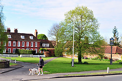 © Licensed to London News Pictures. 14/04/2017<br /> A morning dog walk in Otford Village,Kent.<br /> A bright start to the Easter weekend this Good Friday morning with sunshine and blue sky above the Kent village of Otford.<br /> Otford duck pond roundabout basking in the sunny weather.<br /> Photo credit :Grant Falvey/LNP