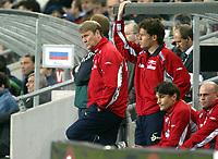 Fotball, 28. april 2004, Privatlandskamp, Norge-Russland 3-2, Åge Hareide , Norge, trener og Stig Inge Bjørnebye