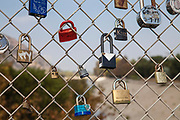 Love Locks adorn the Sunnynook Pedestrian Bridge over the Los Angeles River along the Glendale Narrows