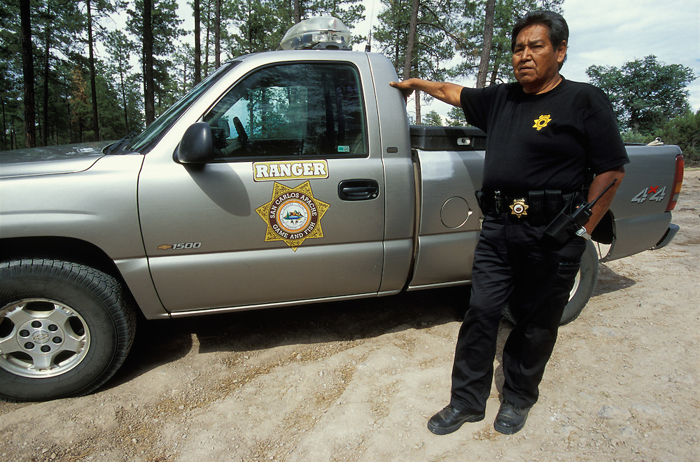 An Apache ranger working for the San Carlos Wildlife and Recreation Department, the San Carlos Indian Reservation, Arizona, USA. June 2004.