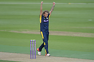 Hampshire all-rounder Gareth Berg celebrates the wiccket of Essex all-rounder Ashar Zaidi during the Royal London One Day Cup match between Hampshire County Cricket Club and Essex County Cricket Club at the Ageas Bowl, Southampton, United Kingdom on 5 June 2016. Photo by David Vokes.