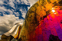 The Frank Gehry designed MoPop (Museum of Pop Culture), which was founded by Microsoft co-founder Paul Allen in 2000. Seattle, Washington USA.