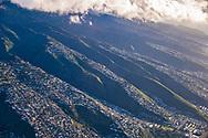 Aerial photograph of houses on the ridges above Honolulu, Oahu, Hawaii