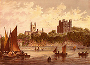 Rochester, Kent, England, situated on the River Medway. Viewed from across the river on which are sailing barges are the 12th century castle and the Cathedral.  As 'Cloisterham' the city is the setting for Charles Dicken's last, unfinished, sensation novel 'The Mystery of Edwin Drood' (1870). Chromolithograph by Kronheim & Co., London, 1869.