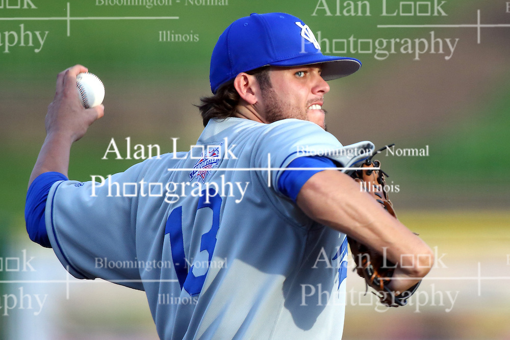 03 June 2016:  Jake Fisher during a Frontier League Baseball game between the Windy City Thunderbolts and the Normal CornBelters at Corn Crib Stadium on the campus of Heartland Community College in Normal Illinois