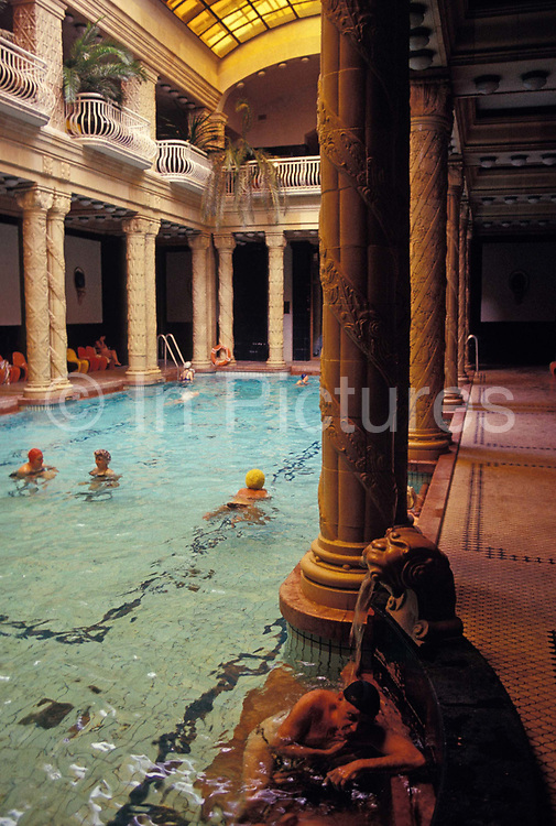 Bathers enjoy the healing thermal spa waters in the Gellert Hotel in Budapest, on 18th June 1990, in Budapest, Hungary.